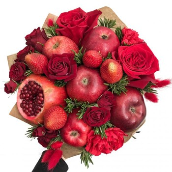 Roses And Strawberries Bouquet
