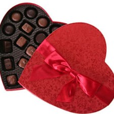Chocolates in a heart box